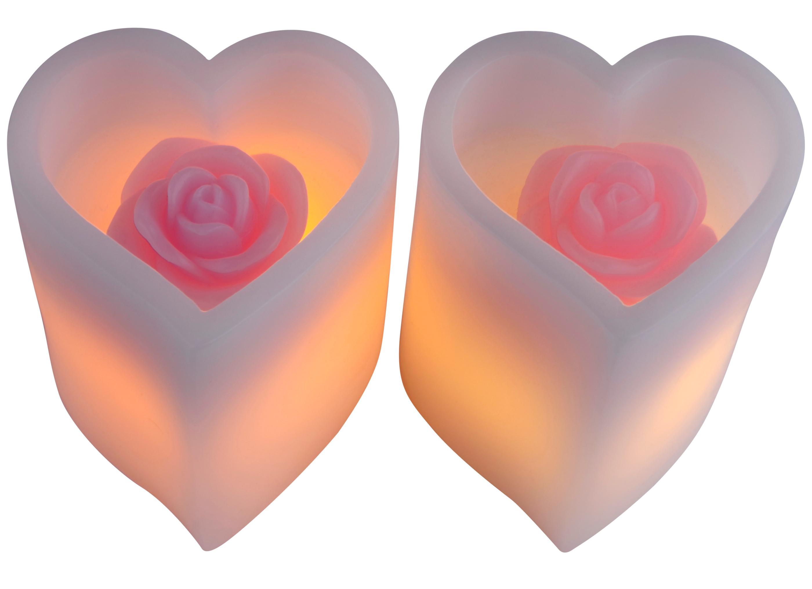led kerze rose im herz flammenlose kerzen. Black Bedroom Furniture Sets. Home Design Ideas