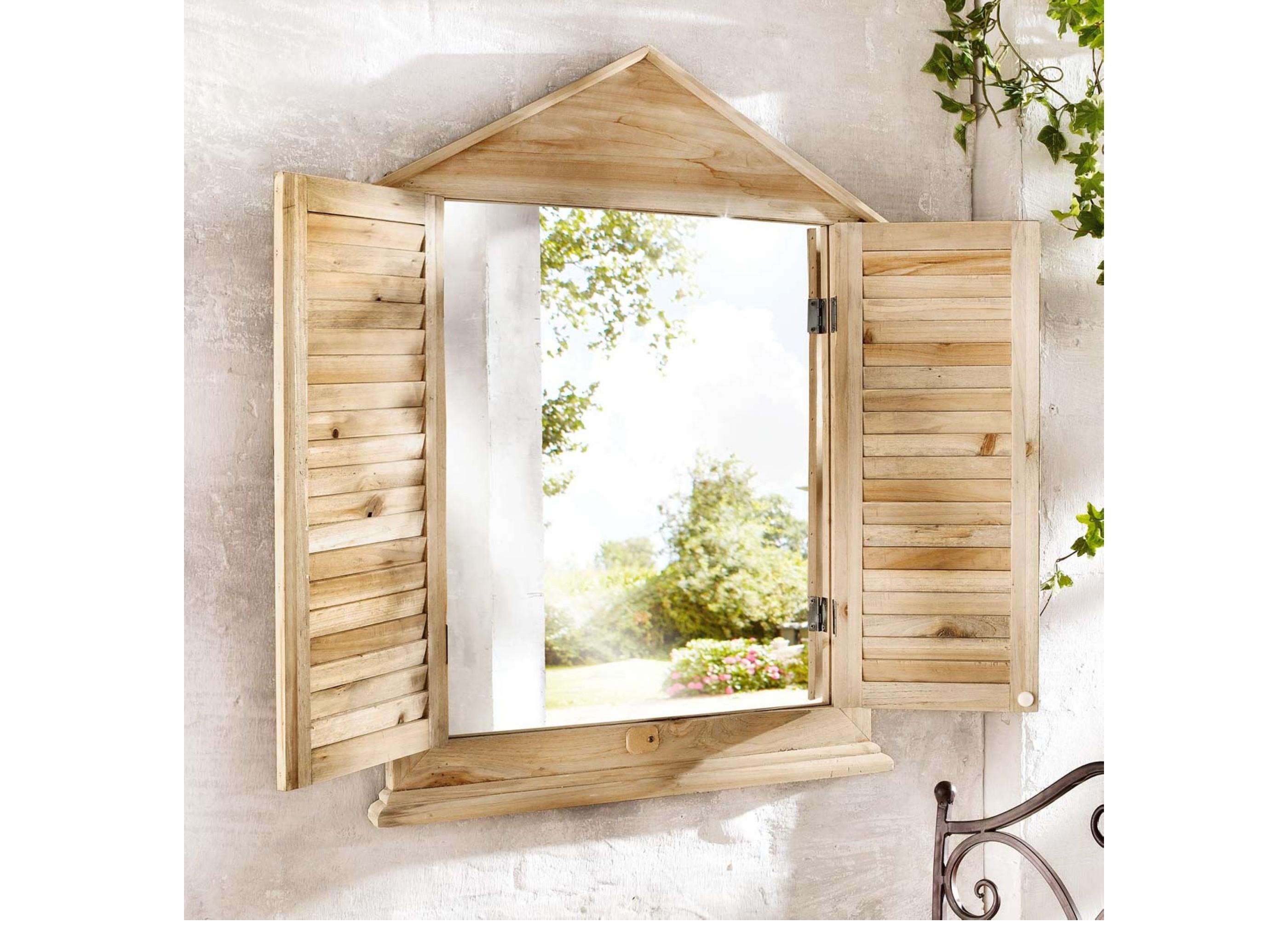 spiegel fensterladen holz kleinm bel. Black Bedroom Furniture Sets. Home Design Ideas