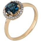 Ring 375 Gelbgold London Blue Topas behandelt