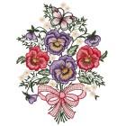 Fensterbild Plauener Spitze Blumen lila-pink