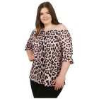 CANDY CURVES Carmen-Shirt flamingo/schwarz