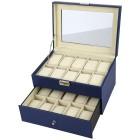Uhrenbox für 20 Uhren aus dunkelblauem PU Leder - 100847900000 - 1 - 140px