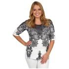 BRILLIANTSHIRTS Shirt 'Lace' schwarz/weiß