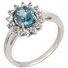 Ring 925 Sterling Silber rhodiniert Zirkon blau 19 - 101728500004 - 1 - 140px