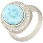 Ring 950 Silber rhodiniert, Larimar/Weißtopas   - 101770700000 - 1 - 140px