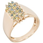 Ring 585 Gelbgold Brillanten, braun, gelb, grün,    - 101911600000 - 1 - 140px