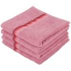 Handtuch 4tlg. Bordüre mit Punkte, rosa, 50x100 cm - 102416700000 - 1 - 140px