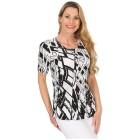 Jeannie Plissee-Shirt 'Asta' schwarz/weiß