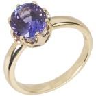 STAR Ring 585 Gelbgold, AAAA Tansanit, oval
