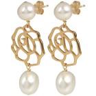 Ohrhänger 925 St.Silber vergoldet Rose+Perlen weiß - 103295500000 - 1 - 140px