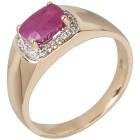 Ring 375 Gelbgold, Rubin behandelt