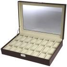 Uhrenbox für 24 Uhren, PU Leder braun, Velour - 103511800000 - 1 - 140px