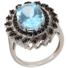 Ring 925 Sterling Silber Blautopas behandelt