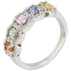 Ring 925 Sterling Silber Multi Saphir mit Zirkon   - 103885200000 - 1 - 140px