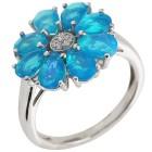 Ring 925 Silber Äthiopischer Opal blau + Zirkon