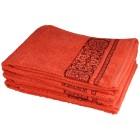 Handtuch 4tlg. Bordüre korallrot