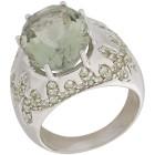 Ring 925 Sterling Silber Prasiolith + Peridot