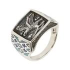 Ring 925 Sterling Silber, Adler, Türkis stabil. Gr. 19 - 14759010502 - 1 - 140px