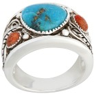 Ring 925 St. Silber Türkis stabil., Schaumkoralle   - 14831300000 - 1 - 140px