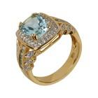 Ring 925 St. Silber vergoldet Blautopas behandelt