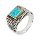 Ring 925 St.Silber bicolor Türkis stabilisiert Gr. 20 - 14918410503 - 1 - 140px