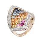 Ring 585 Gelbgold Saphir, Brillanten Gr. 18 - 14943710302 - 1 - 140px