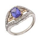 Ring 585 Gelbgold/Weißgold AAATansanit