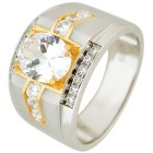 Ring 925 Sterling Silber bicolor Zirkonia
