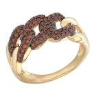STAR Ring 585 Gelbgold Brillanten rot
