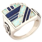 Ring 925 St. Silber Lapis, Opal-Doublette Gr. 21 - 15118610504 - 1 - 140px