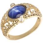 Ring 925 vergoldet Synthetischer Stern Saphir   - 15125400000 - 1 - 140px