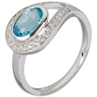 Ring 925 Sterling Silber Swiss Blue Topas beh.