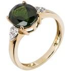Ring 375 Gelbgold, Chromdiopsid & Zirkon