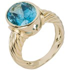 Ring 925 St. Silber vergoldet Swiss Blue Topas beh