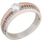 Ring 925 Sterling Silber bicolor Zirkonia Gr.19 - 15160310403 - 1 - 140px