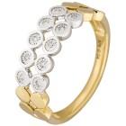 Ring 375 Gelbgold, Weißgold Diamanten