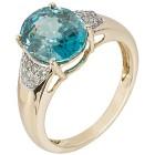 Ring 585 Gelbgold AAAZirkon blau, Diamanten Gr. 20 - 15253310303 - 1 - 140px