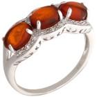 Ring 925 Sterling Silber Bernstein, Zirkon Gr. 18 - 15273210502 - 1 - 140px