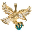 Adleranhänger 585 Gelbgold bicolor Türkis