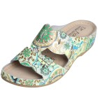 Dr. Feet Damen-Leder-Pantolette grün, Blumen