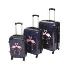 3-teiliges Trolley-Set Flamingo, schwarz/pink