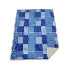 Patchwork-Sherpa Decke, Blau, 150 x 200 cm