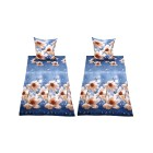 WinterDreams Bettwäsche blau mit Blumen, 4-teilig