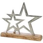 Metallstern silber auf Holzsockel, 22 x 5 x 26 cm