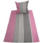 Biber Bettwäsche, grau-rosé gestreift, 2-teilig - 68368100000 - 1 - 140px