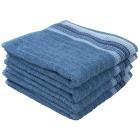 Handtuch mit bestickter Borde, blau, 4er-Set
