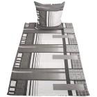 Baumwoll Biber Bettwäsche, grau-weiß, 2-teilig - 68420200000 - 1 - 140px