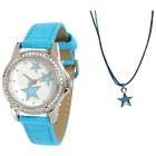 Crystal blue Mädchenuhr Stars+Kette mit Anhänger