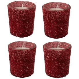Teelichtkerzen Effektglas 4er rot