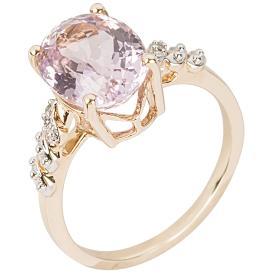 Ring 375 Gelbgold, Kunzit + Diamanten